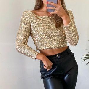 Limited edition gold sequin off shoulder crop top